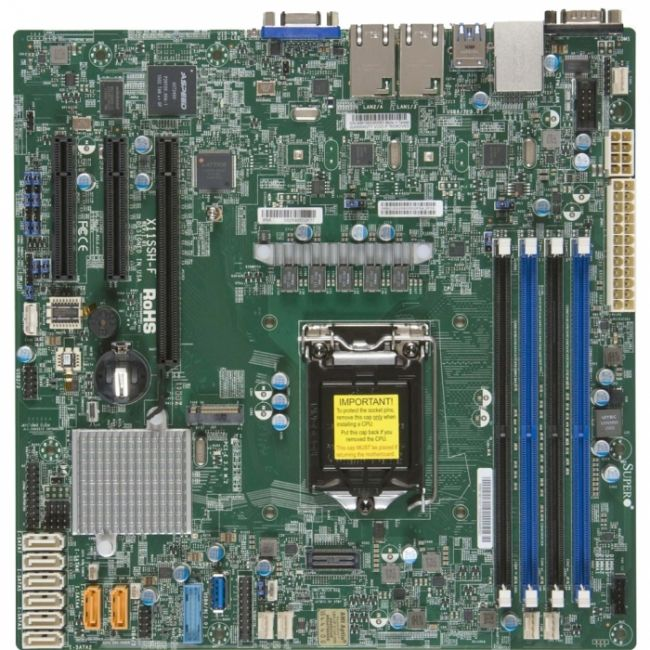 Материнская плата MBD-X11SSH-F-B Micro-ATX  LGA 1151  64GB Unbuffered ECC UDIMM  DDR4-2400MHz, in 4 DIMM slots  6 USB 2.0 ports 5 USB 3.0 ports  1 VGA port  1 PCI-E 3.0 x8 (in x16 slot)  1 PCI-E 3.0 x8  1 PCI-E 3.0 x4 (in x8 slot)