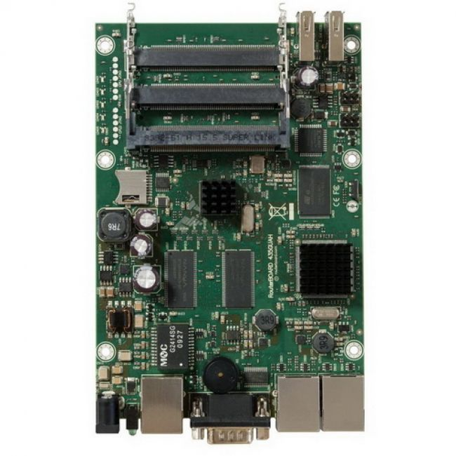 Маршрутизатор RB435G без корпуса RouterBOARD 435G with 680MHz Atheros CPU, 256MB RAM, 3 Gigabit LAN, 5 miniPCI, RouterOS L5, 2 USB ports {20}