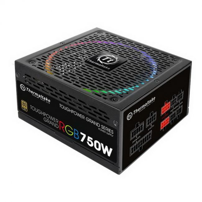 Блок питания Toughpower Grand 750 PS-TPG-0750FPCGEU-S /Fully Modular/750W/ATX 2.4 & EPS 2.92/A-PFC/14cm RGB Fan/EU/80Plus Gold/RGB Sync Edition RTL {4}