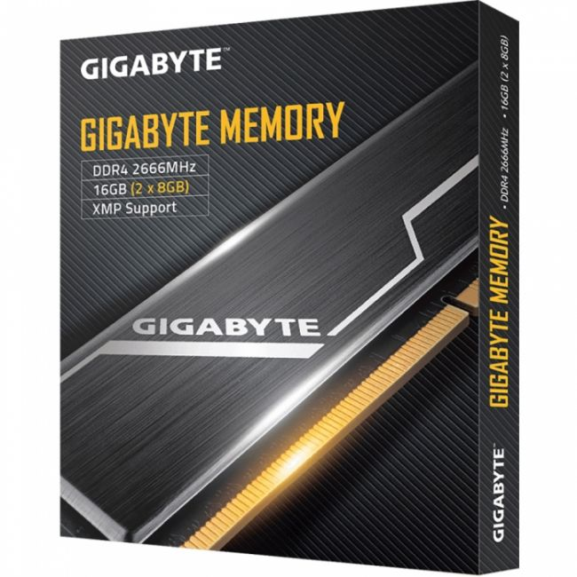 16GB Gigabyte DDR4 2666 DIMM Black Gaming Memory GP-GR26C16S8K2HU416 2 pack Non-ECC, CL16, 1.2V, Kit (2x8GB), RTL {20} (804657)