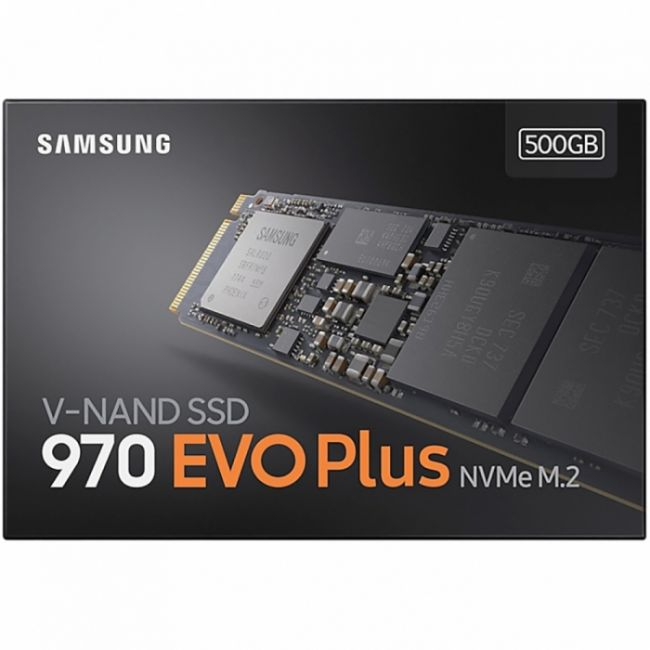 Жесткий диск SSD M.2 2280 500GB Samsung 970 EVO Plus Client SSD MZ-V7S500BW PCIe Gen3x4 with NVMe, 3500/3200, IOPS 480/550K, MTBF 1.5M, 3D NAND TLC, 512MB, 300TBW, NVMe 1.3, RTL {10} (628116)