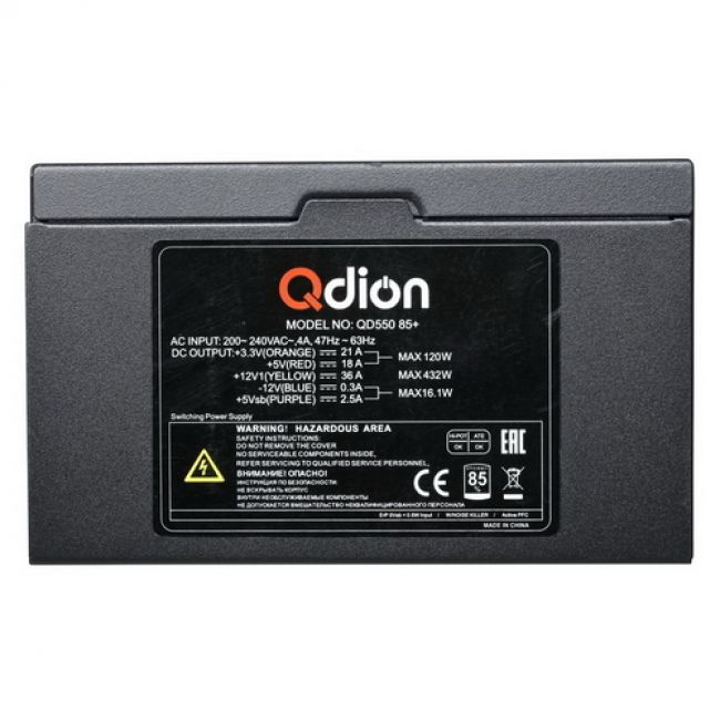 Блок питания QD550 85+ ATX QD550 85+, 550W 85+ real, 12cm fan, 24+4pin, CPU4+4,PCI-E 6+2pin,5*sata,3*molex,1*fdd pin, input 230V,I/O switch,without power cord OEM