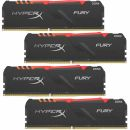 Модуль памяти 32GB Kingston DDR4 3000 DIMM HyperX FURY RGB Black Gaming Memory HX430C15FB3AK4/32 Non-ECC, CL15, 1.35V, Kit (4x8GB), RTL (296488)