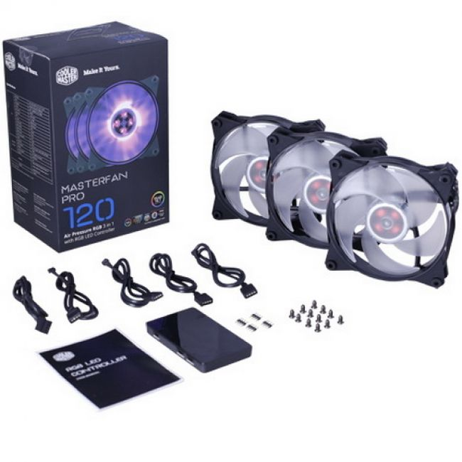 Вентилятор MasterFan Pro 120 Air Pressure RGB 3 in 1 with RGB LED Controller [MFY-P2DC-153PC-R1] MFY-P2DC-153PC-R1 , RTL {18} (490)