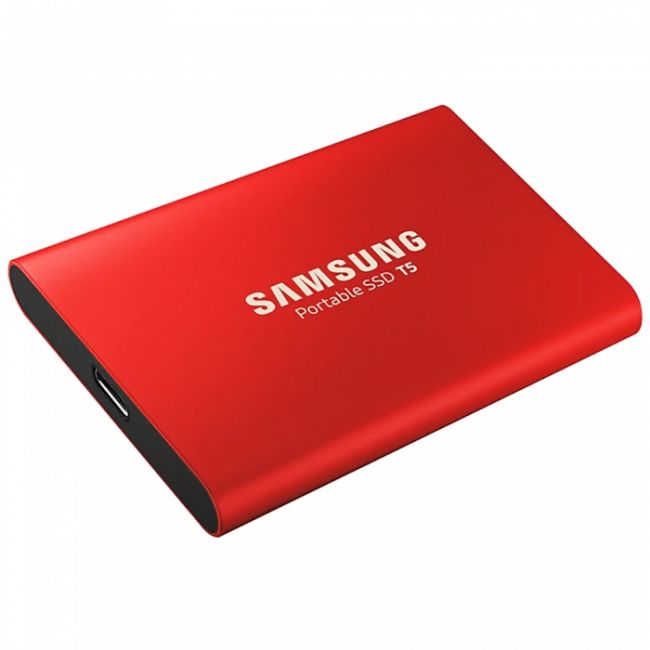"1.8"" 1TB Samsung T5 External SSD MU-PA1T0R/WW USB 3.1 Gen 2 Type-C, Up to 540MB/s, Red, RTL {5} (919375)"