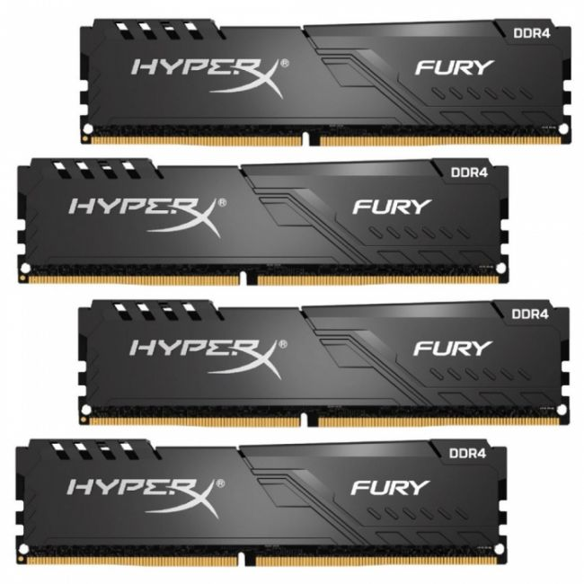 Модуль памяти 64GB Kingston DDR4 2666 DIMM HyperX FURY Black Gaming Memory HX426C16FB3K4/64 Non-ECC, CL16, 1.2V, Kit (4x16GB), RTL (293340)