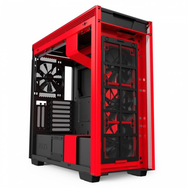 Корпус H710i CA-H710i-BR Mid Tower Black/Red Chassis with Smart Device 2, 3x120, 1x140mm Aer F Case Fans, 2x LED Strips and Vertical GPU Mount