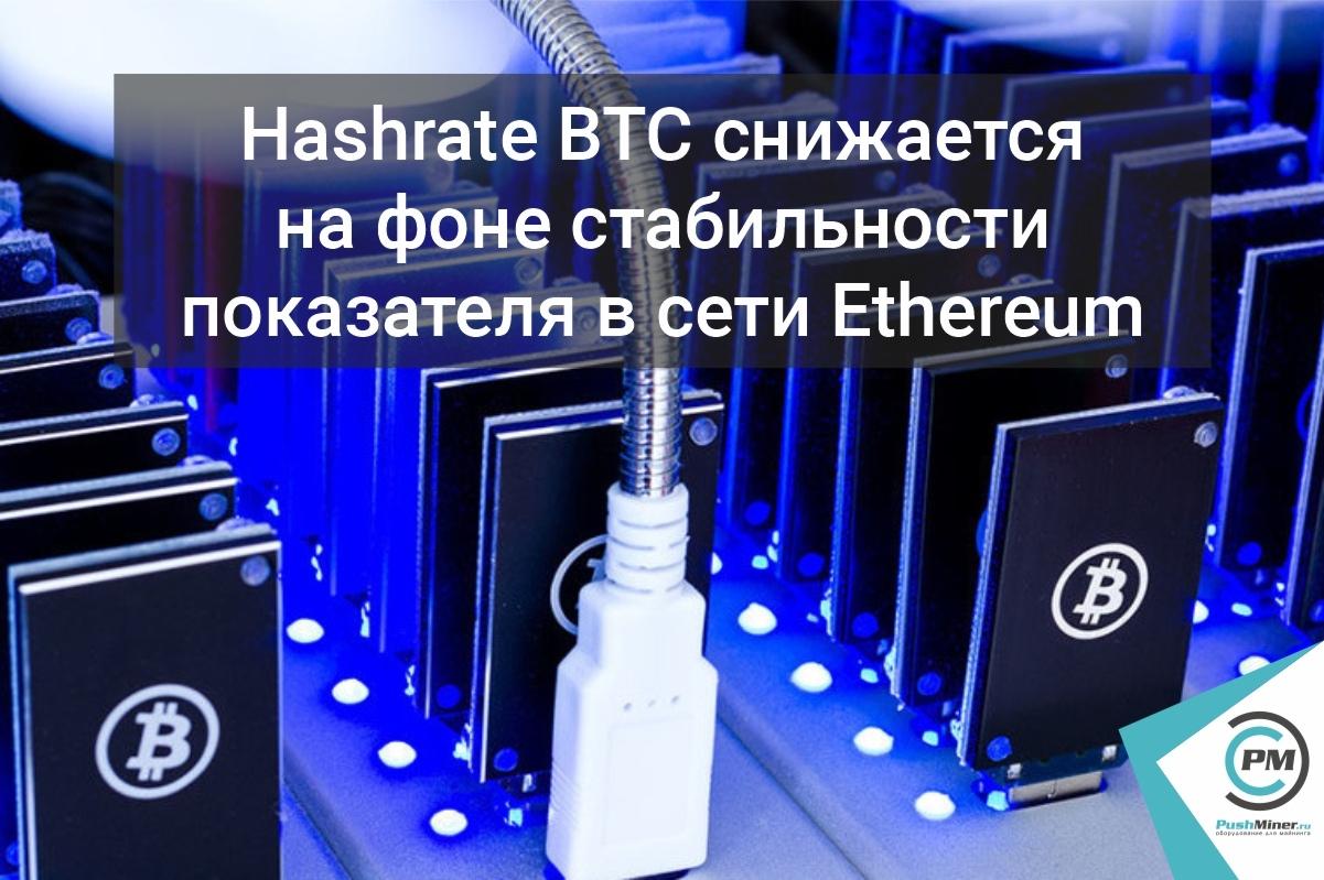 Hashrate BTC снижается на фоне стабильности показателя в сети Ethereum.