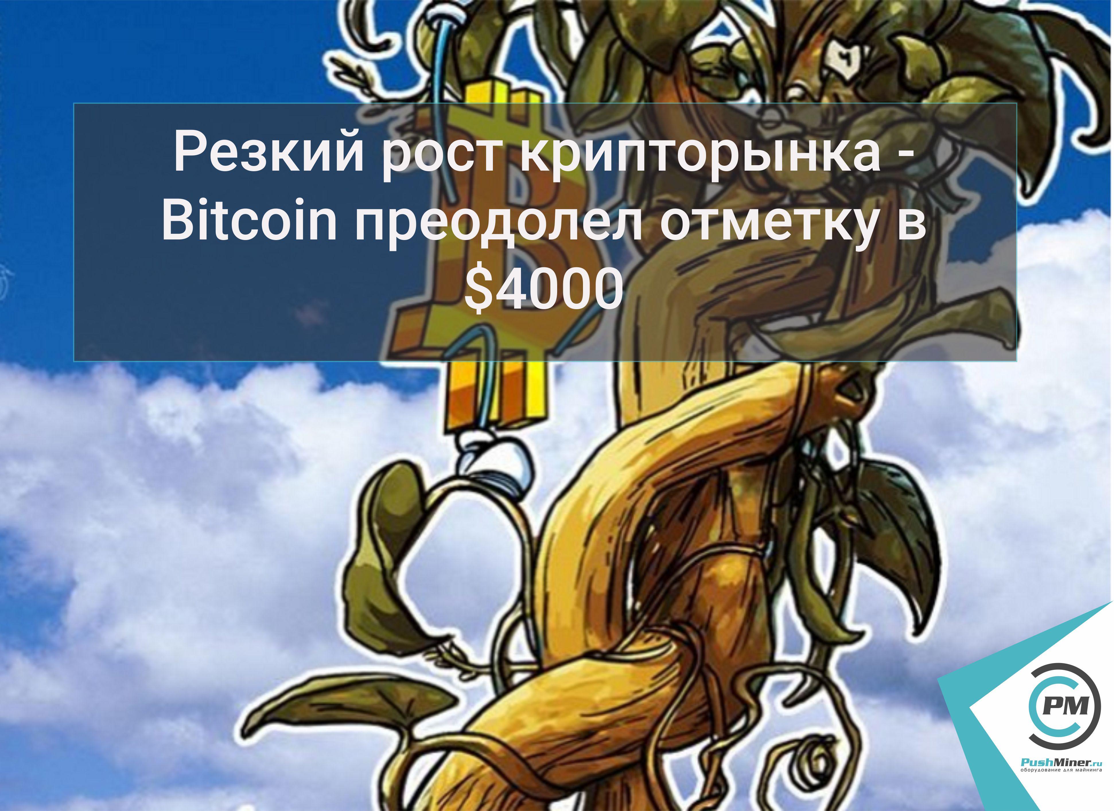 Резкий рост крипторынка -Bitcoinпреодолел отметку в $4000